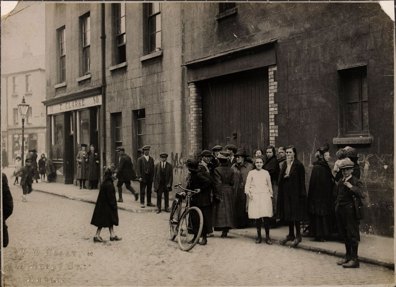 Group of people near the place where Kevin Barry was captured