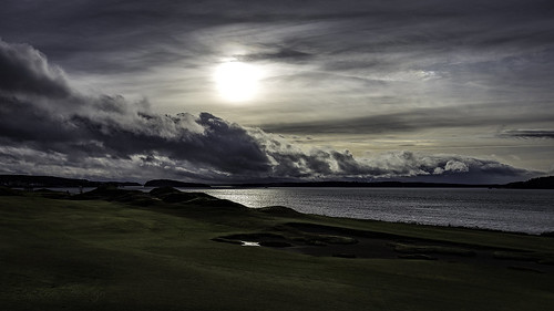 drama sky chambersbay pugetsound clouds outside storm golfcourse grass dark moody