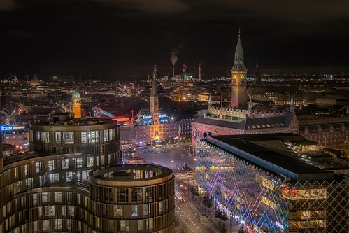 travel nikond5300 copenhagen night copenhague aerial church denmark longexposure view cityscape city
