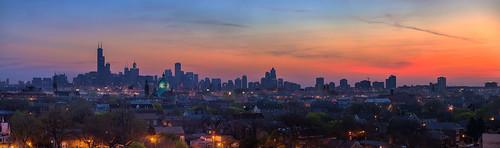 morning panorama chicago skyline sunrise nikon cityscape pano d800