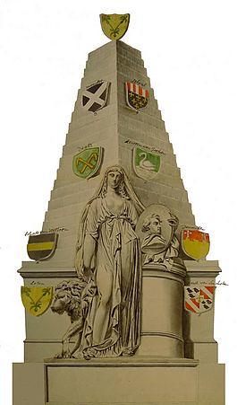 Een anonieme aquarel waarop het grafmonument van Joan Gideon Loten in Westminster Abbey is afgebeeld (Coll. Het Utrechts Archief).