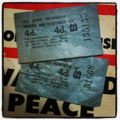 Pre-1958 Perth tram tickets found in an old Penguin
