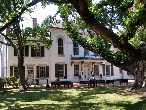 park windows summer chimney white tree men brick public architecture afternoon shadows landscaping balcony south maryland easternshore historic lazy shutters government courthouse lounging benches federal 18thcentury centreville bucolic 2012 lateday nrhp mystuart