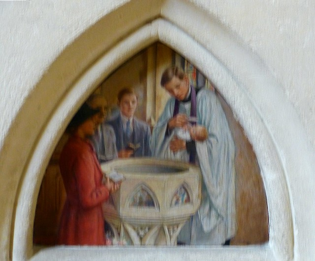 St Andrew's Church Croydon. Detail of font. Seven panels by Cicely Mary Barker depicting the Seven Sacraments - Baptisim