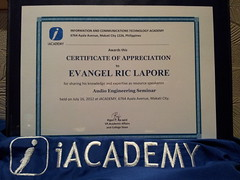 Certificate of Appreciation in Audio Engineering