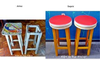 Restauração e pintura de bancos de madeira | by ALÉM DA RUA ATELIER/Veronica Kraemer
