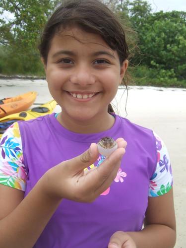 Gabi with a pufferfish.