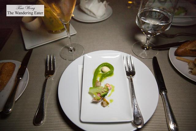 Amuse bouche of red mullet, broccoli puree
