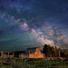"Stars over John Moulton homestead by IronRodArt - Royce Bair (""Star Shooter"")"