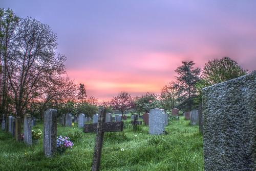 flowers church graveyard grass sunrise dawn cross graves dew crucifix hdr walkern hertfordshitre