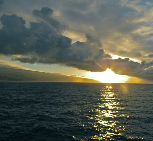 ocean sunset sea sun water clouds island hawaii big pacific hilo