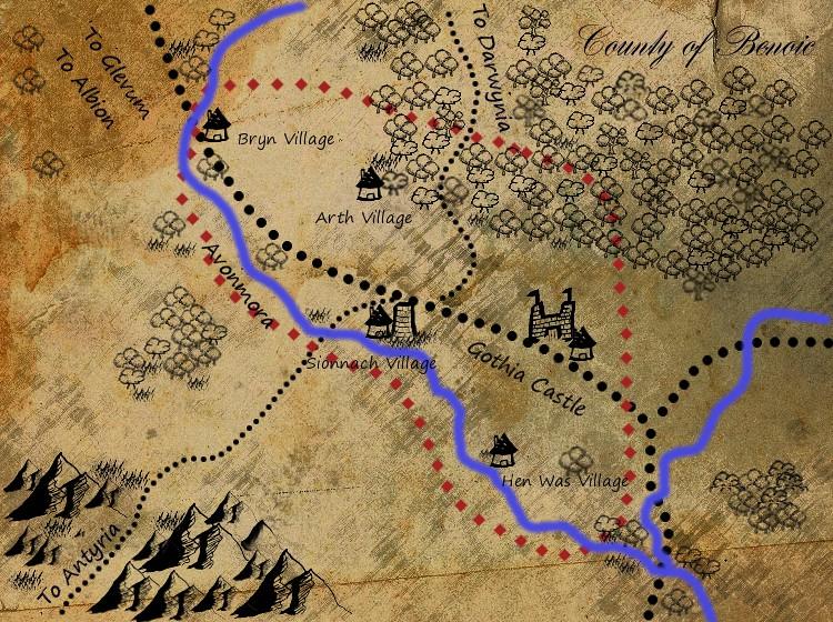 Map over Benoic | A map over the County Benoic, Avalonia | de Gothia