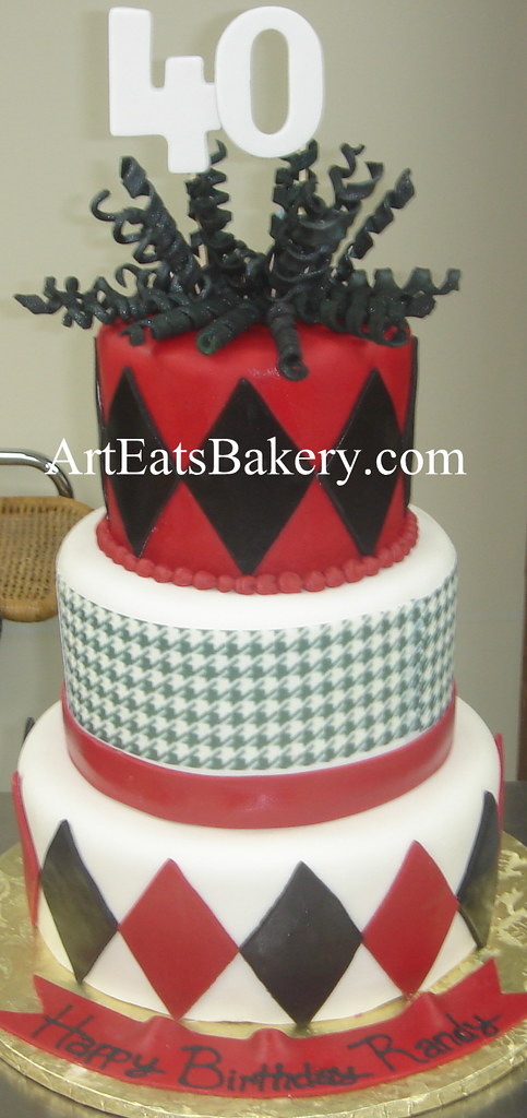 Prime Three Tier Red Black And White Fondant Houndstooth And Diamond Funny Birthday Cards Online Bapapcheapnameinfo