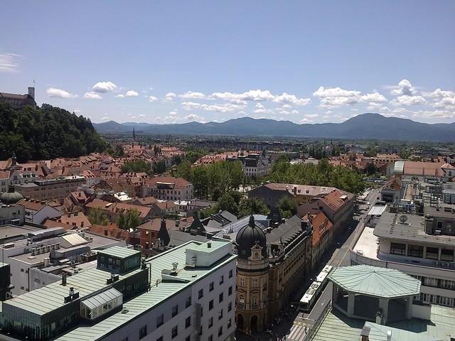 Ljubljana and hills, view from Nebotičnik high-rise, Slovenia
