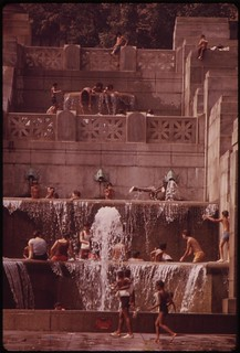 Cooling Off In One Of The Fountains Around The Philadelphia Museum Of Art, August 1973