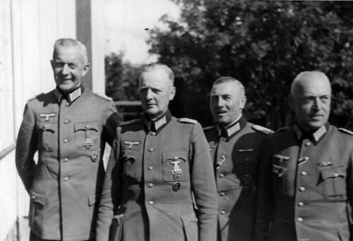 Tyske offiserer: Oberstlt. Haslinde, Oberst Gießen, Major Dr. Kühner, Major Wengenmeier