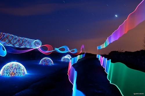 longexposure lightpainting ribbons domes startrails lightpollution prettystars multicoloureddomes garethbrooks tiredwifebehindthelens