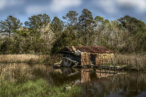 house abandoned boat ship sunken seagrass saltmarsh sank tidalcreek tonemapped a850