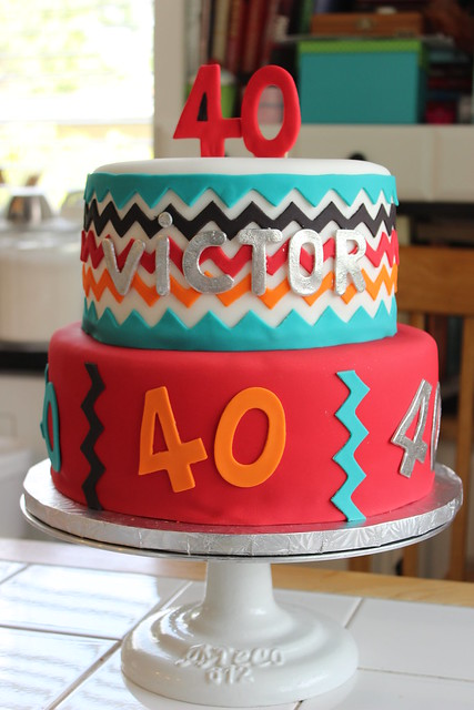 Chevron 40th Birthday Cake