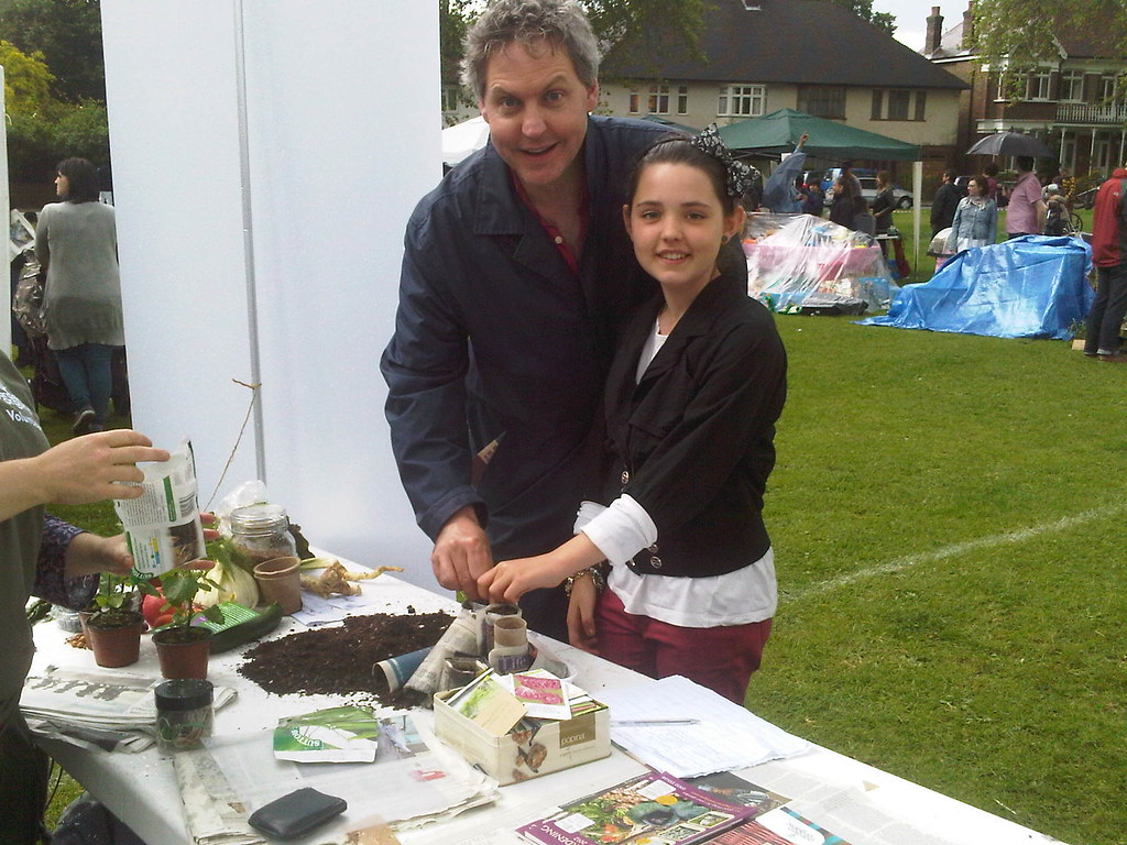 Local Holby City actor Bob Barrett planting beans with his daughter