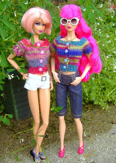 Rosalie & Peony in summer sweaters #1
