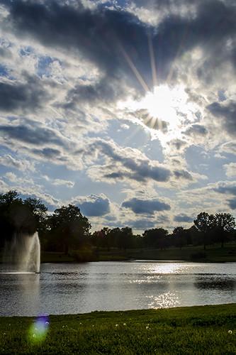 sunset clouds pond kansas hdr sunbeams fortleavenworth
