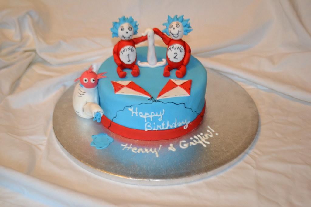 Outstanding Thing 1 Thing 2 1St Birthday Cake Liz Esposito Flickr Funny Birthday Cards Online Necthendildamsfinfo