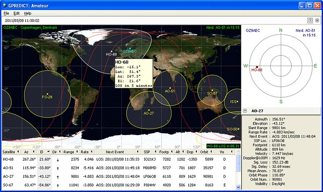 Gpredict: Free, Real-Time Satellite Tracking and Orbit Prediction