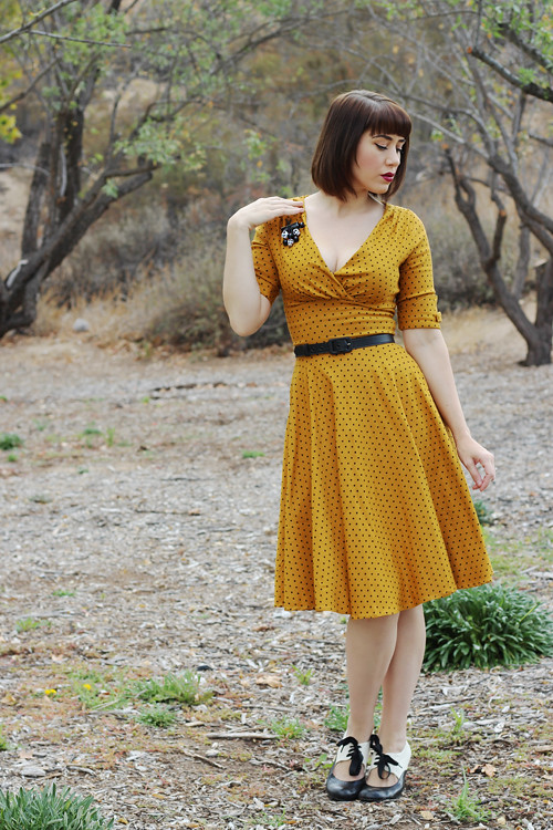 156cbde17 ... Unique Vintage 1950s Style Mustard & Black Dot Delores Swing Dress | by  AshleyBelle12