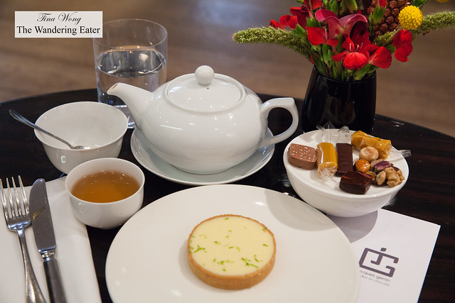 Basil lemon tart and You Xiang (green tea) and some chocolates and signature passion fruit caramels
