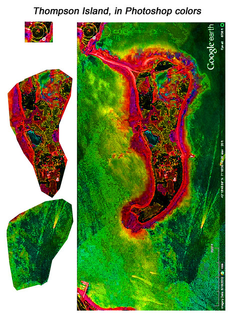 Color Manipulation of Google Earth, Thompson Island: different figures emerge