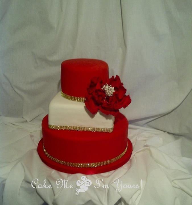 Red White Gold Wedding Cake Amber Flickr
