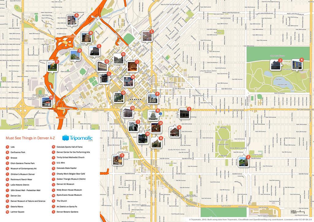 Denver printable tourist attractions map | Printable tourist ...
