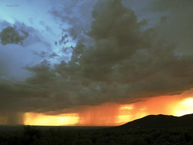 Monsoon Rain at Sunset