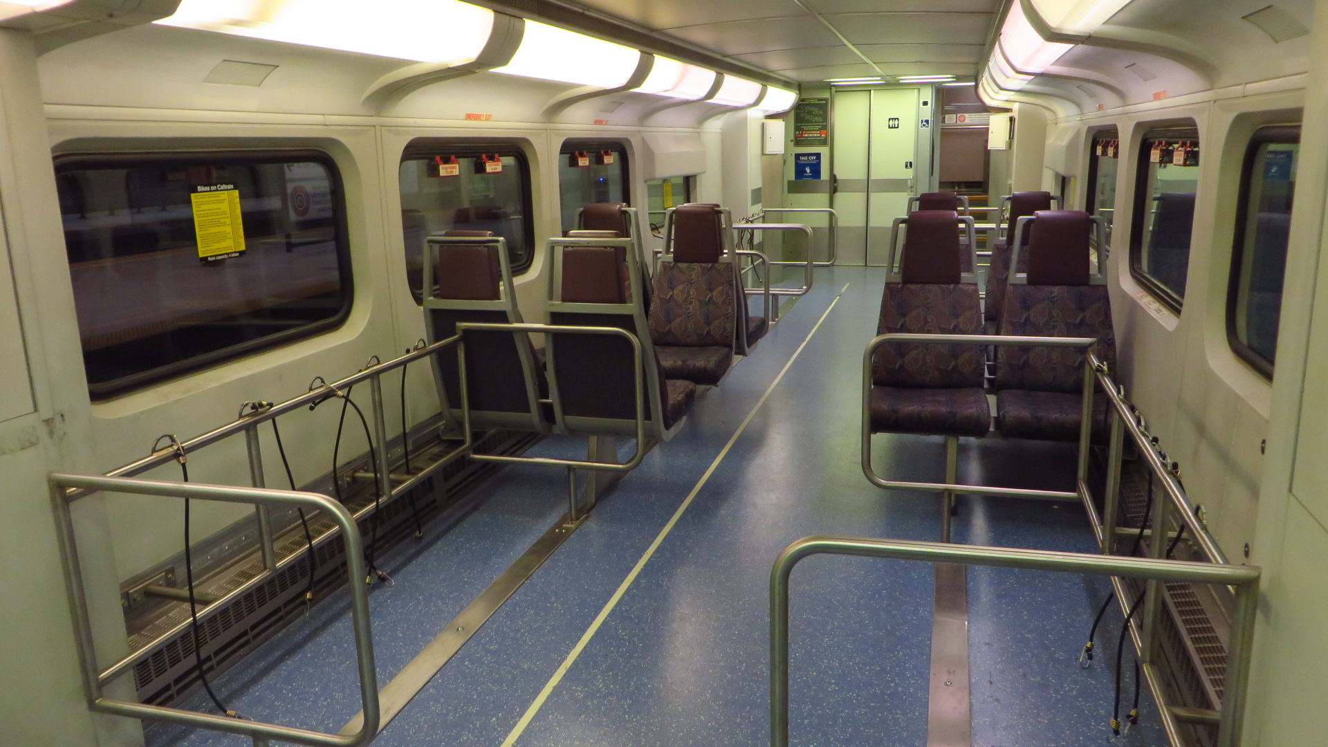 A view of the lower floor of an ex-Metrolink Bombardier Bilevel car with two bike storage locations