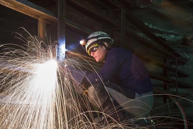 Kristen Bobo welding, Zarathustras Cave, Fentress County, Tennessee 1