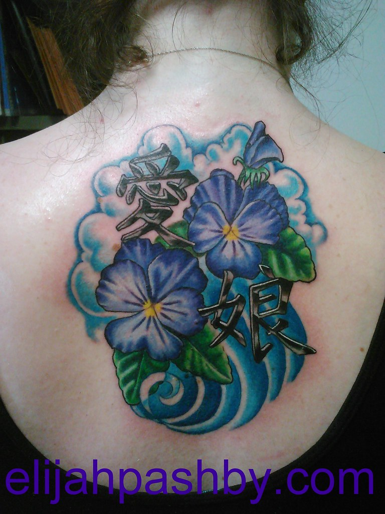 Violet Flowers And Kanji Tattoo Tattoo By Elijah Pashby T Flickr