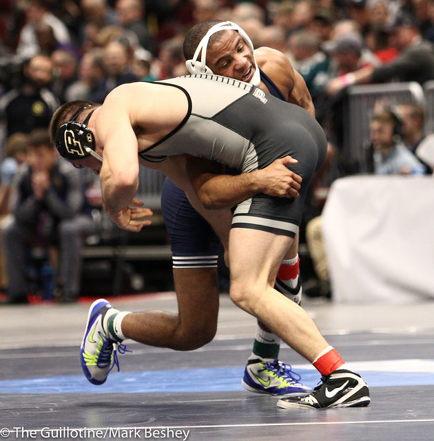 174 Champ. Round 2 - Mark Hall (Penn State) 30-0 won by tech fall over Dylan Lydy (Purdue) 33-13 (TF-1.5 6:54 (21-3) - 180315bmk0050
