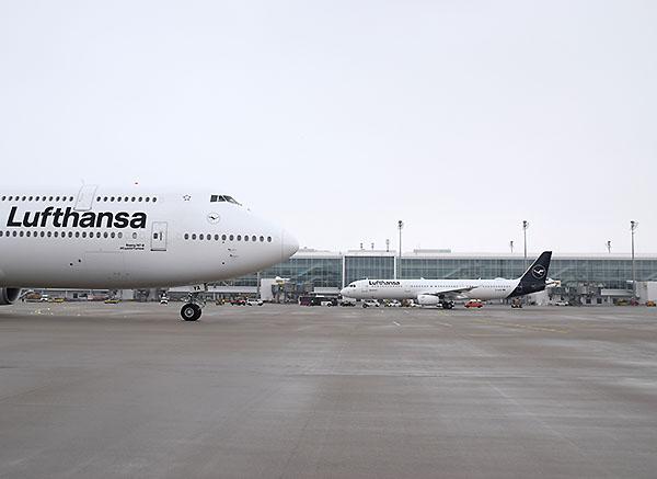 Lufthansa B747-8 y A321 en MUC (Lufthansa)