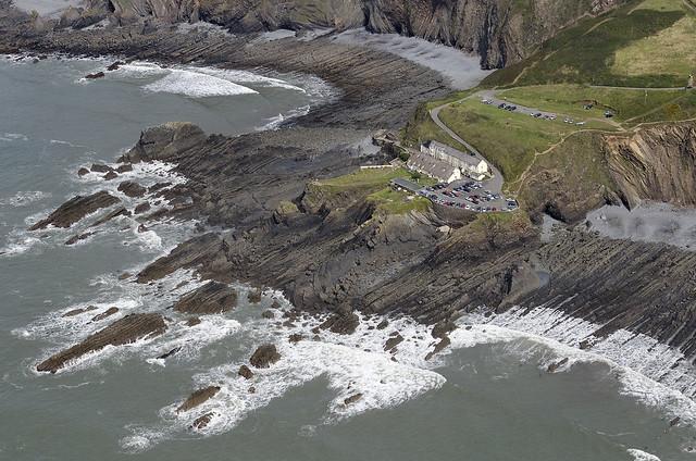 Hartland Quay Hotel in North Devon - aerial image