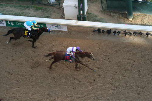 """""""I'll have Another"""" crosses the fininsh line to win the 2012 Kentucky Derby. 