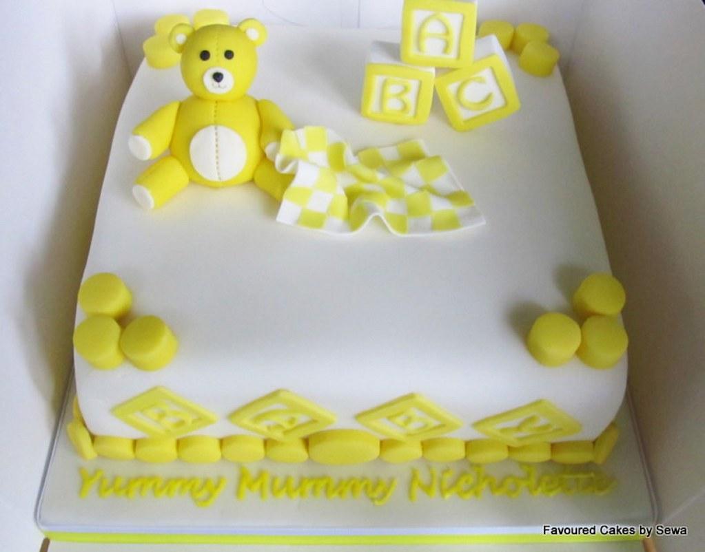 White And Yellow Baby Shower Cake Sewa Soremi Flickr
