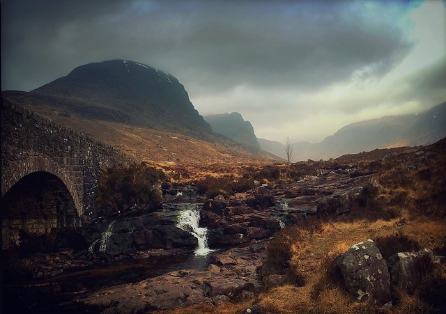 At The Russel Burn Bridge, Approaching the Bealach na Bà, Wester Ross