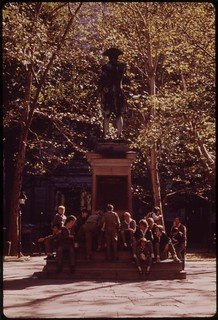 Independence Square: Boy Scouts Gather At Statue Of Commodore John Barry, August 1973