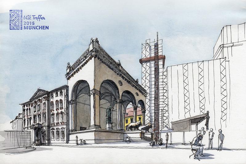 Munich, Feldherrnhalle at the Odeonsplatz