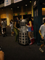 Dalek from Doctor Who with Wonder Woman and Poison Ivy