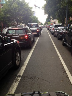 traffic. but not in bike lane.