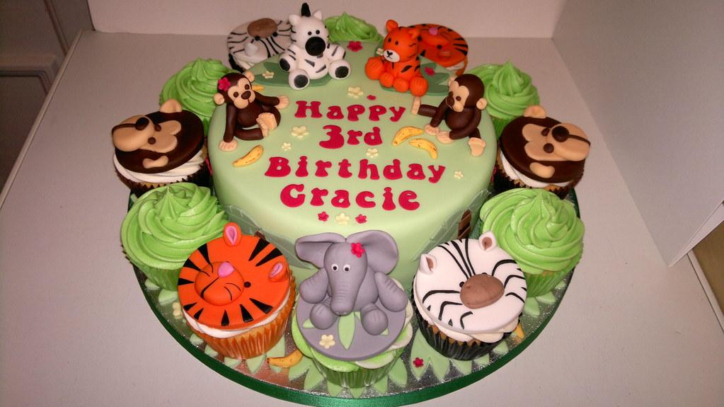 Pleasant Jungle Theme Birthday Cake Liz Flickr Funny Birthday Cards Online Inifofree Goldxyz