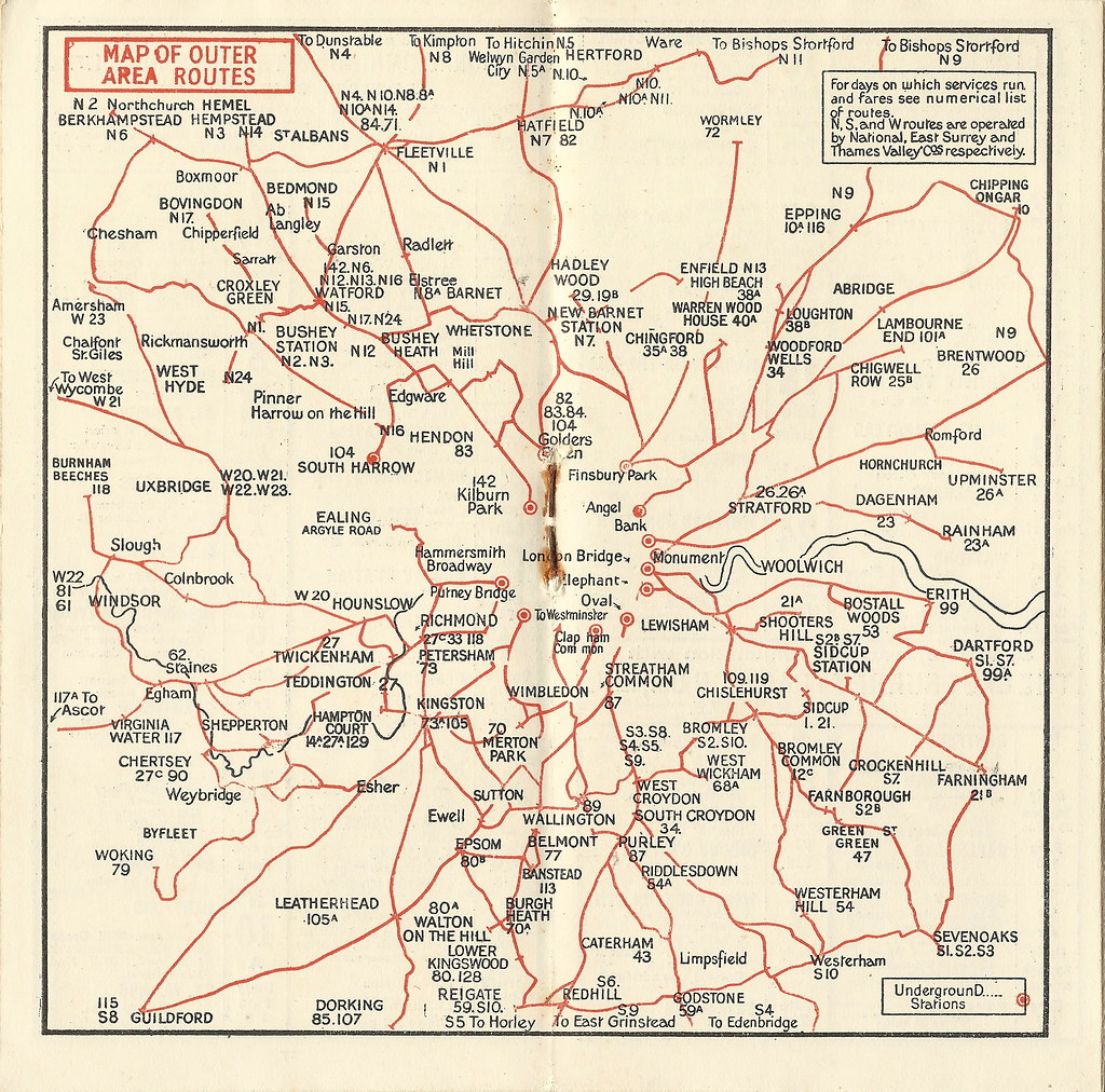 Map Outer London.London General Omnibus Company Map Of Outer Area Bus Rou Flickr