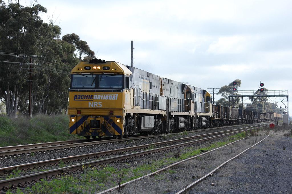 NR5 NR19 and NR71 lead a loaded PW4 steel train through Lubeck Loop in Western Victoria by bukk05